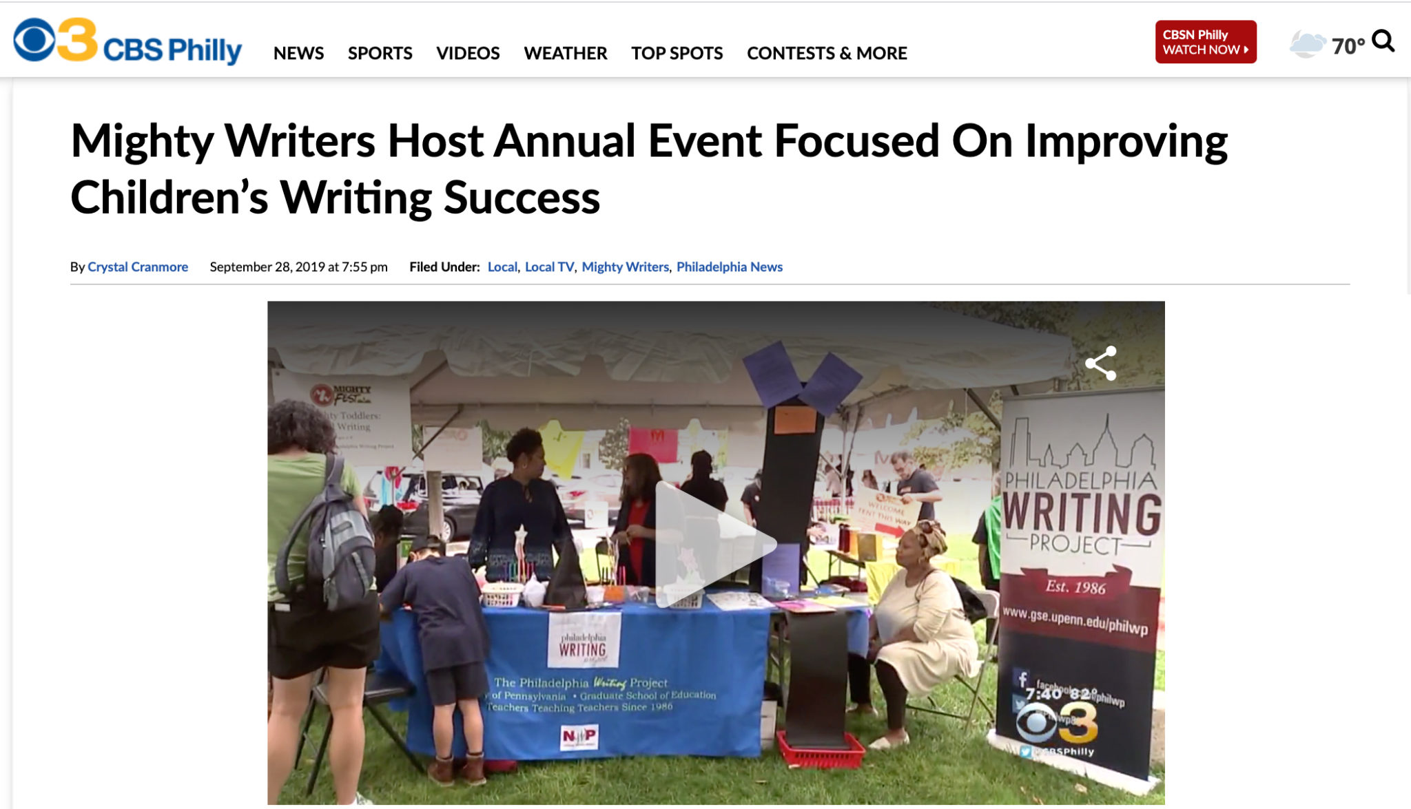 CBS 3 Covers MightyFest 2019