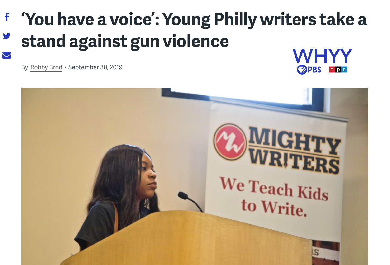WHYY Gun Violence Article
